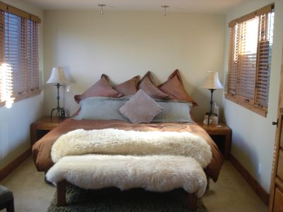 Master Bedroom, King Bed. View's of Ajax Mountain, while lying in bed & at desk
