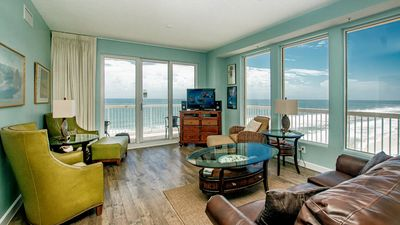 Living room with a gorgeous view of the gulf