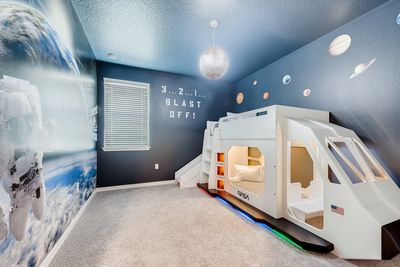 Space Bedroom with Spaceship bunk-bed and space toys!