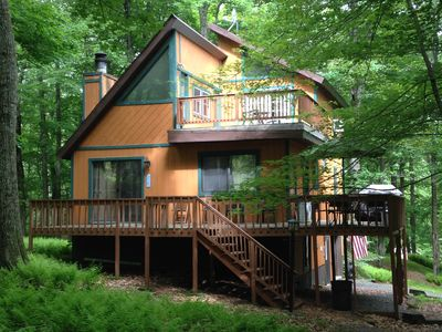 Photo for Beautiful secluded Locust Lake mountain retreat on ski slope and close to lake