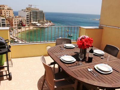 Photo for GetawaysMalta - Spinola Bay Seafront Penthouse in St. Julian's