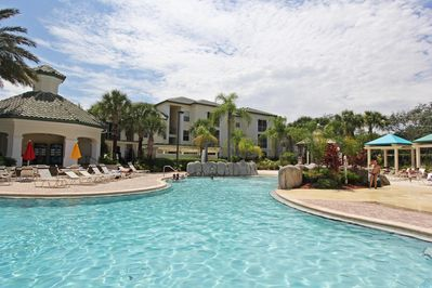 Tropical Pool at Legacy Dunes which has gently shelving beach entry