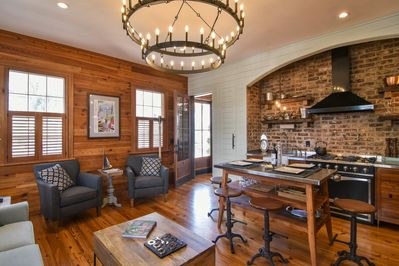 The house features numerous custom handcrafted light fixtures.