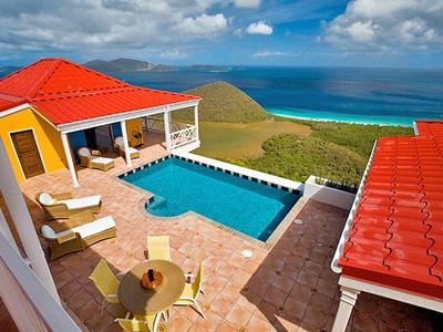 Photo for Sunny Side Up - Hillside villa offers breathtaking island & sea views, pool & fun
