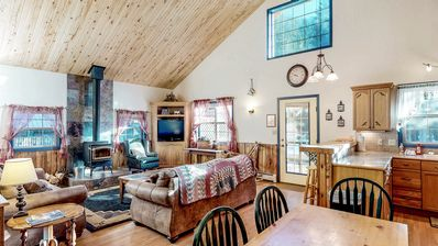 Photo for NEW LISTING! Dog-friendly cabin w/wood stove, hot tub & riverside firepit