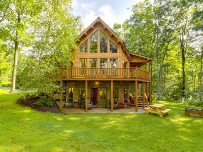 Photo for Beautiful cabin in the woods w/private hot tub & game room, close to skiing