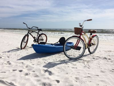 Photo for Weeks of Aug 17 & 24 Still Available!   Directly on beach! Free Bikes/Kayak.