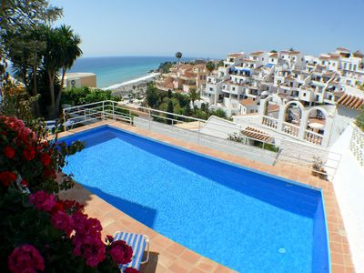 Photo for In Nerja, villa with garden and private pool overlooking the sea for 8 people