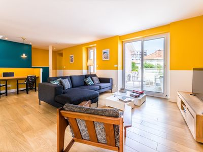 Photo for Bright Duplex Apartment with Terrace and Parking in Biarritz Center