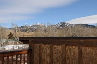 Beautiful views of the Bridger Mountains from one of the upper patios.