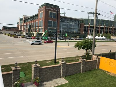 view of Lambeau from rooftop patio