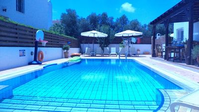The pool and back poolside area