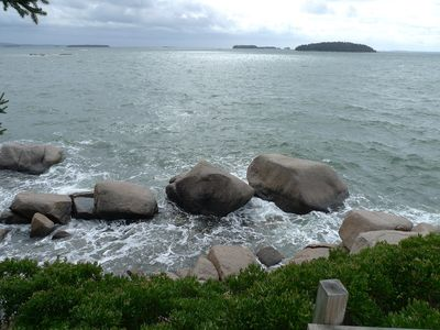 Mark and Andrews Islands are directly south. Note huge'twin boulders' at right.