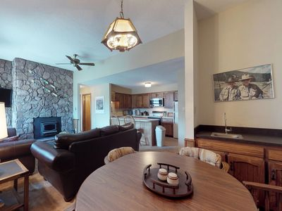 Photo for NEW LISTING! Dog-friendly condo w/ jet tub, deck, stone fireplace & slope views