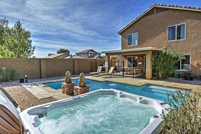 Look forward to spending your downtime in this pristine swimming pool.