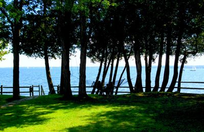 Photo for Stunning Vistas direct on Lake Champlain: Authentic ADK Cabin Retreat