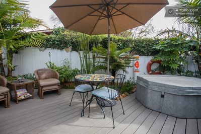 Plenty of room to relax on the deck and soak in the spa!