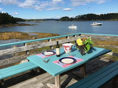 Photo for Oceanfront deck, kayaking, birds, lobster boats, island view, right on the water