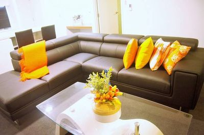 Quality leather lounge to relax & enjoy your favourite movie on the satellite TV