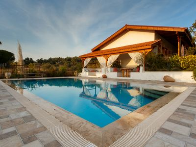 Photo for Ionia Guest House - Luxury straw bale room & pool in the Aegean countryside