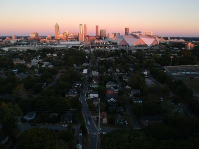 birds eye view of city, taken by a drone above our house