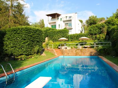 Photo for Modernist villa with private pool Rome 20 minutes away overlooking national park