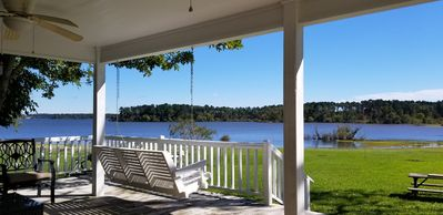 Enjoy watching the family while sitting on the back deck.