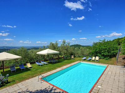 Photo for Beautiful apartment with pool, WIFI, TV, patio, panoramic view, parking, close to Greve In Chianti