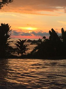Sunset from across the refreshing pool.