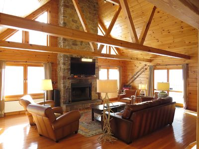 Photo for Beautiful log home close to Mt. Snow with hot tub and sauna.
