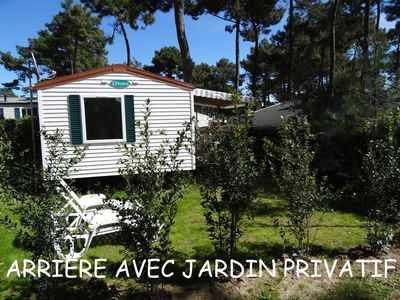 Photo for Mobilhome 4/5 p 32m2. Bonne Anse Plage beaches near the heart of the pine forest