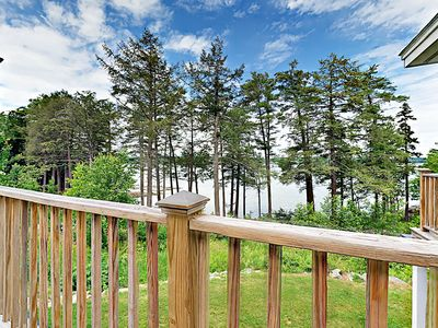 Deck - Begin each day with a hot cup of coffee on a shared balcony overlooking the Sheepscot River.