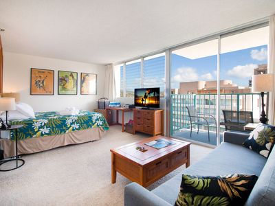 Photo for Studio in the Heart of Waikiki with Ocean Views | 14th Floor | WiFi Incl.