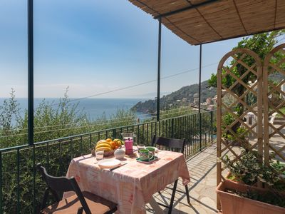 Photo for Gli Ulivi One bedroom apartment in front of the sea with terrace and swimming pool