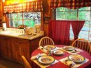 Here is the cozy kitchen that is supplied with everything but your food.