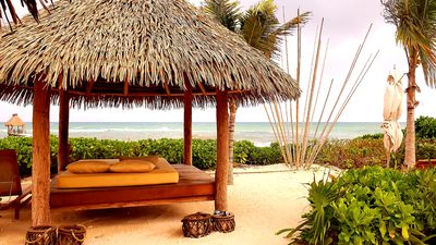 Beach side cabana for lounging