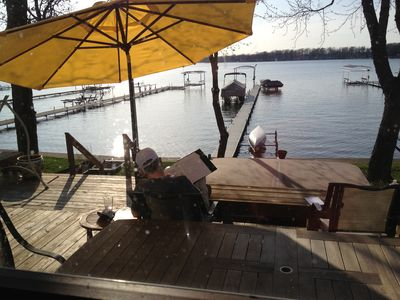 The deck is a great place to relax and watch the lake
