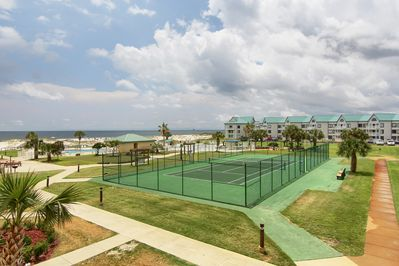 condo view-tennis court, grounds and swimming pool
