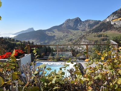 Photo for Perfect location! Superb Chalet 5 *, jacuzzi and spectacular view