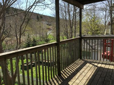 Three levels of deck look out over the Waterford River Valley.