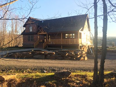 "Photo for ""BRAND NEW"" ski chalet with bucolic mountain , farm and pond views on 4-acres"