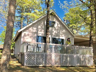 Photo for Island Cottage, On Golf Course, WiFi, Large Deck, Fire Pit, Wood Stove, Sunset Views