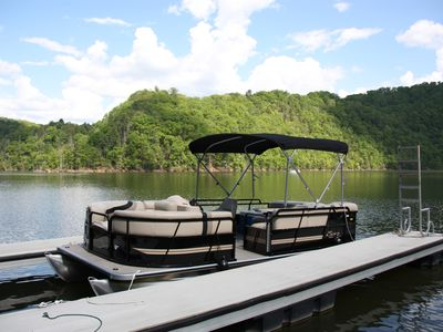 Photo for 2015 PONTOON BOAT AVAILABLE ! KING BED WATERFRONT & KYAKS!
