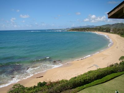 View of Wailua Beach from our Lanai.  Great place to relax.
