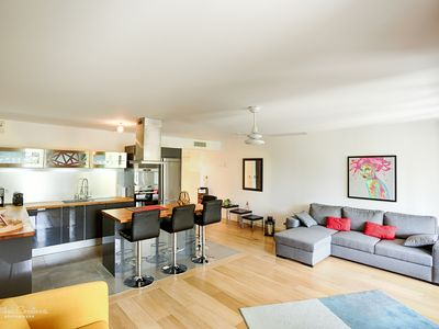 Photo for Luxury apartment. Terrace, garden, WIFI, parking. 4 persons