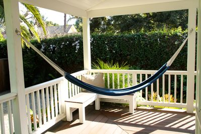 Large wrap around porch with hammock
