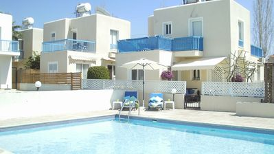 Pool to rear, own sunbeds, swim towels included