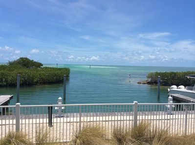 Beautiful view from pool with channel and sand bar