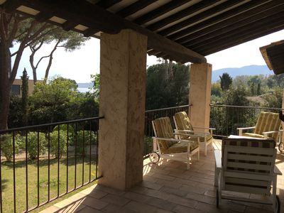 Photo for 1 minute walk from the beach, high villa in private domain, 3 bedrooms