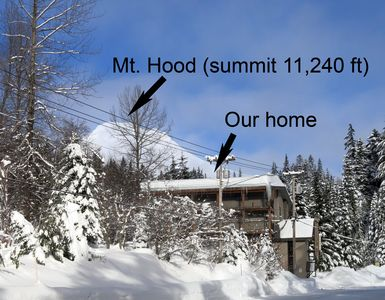 Mt. Hood's Summit peaks up above our mountain vacation home nestled below...